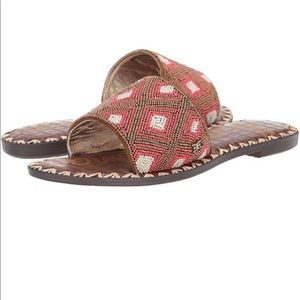 Sam Edelman New Gunner Beaded Slide Sandal brown!!